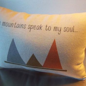 Lodge throw pillows gift for him canvas pillow mountain cushion