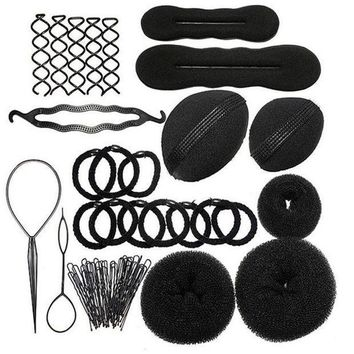 1set Hairdressing Diy Hair Accessories Sponge Disk Hair Increased Pad Hair Pin Clip Rubber Band Professional Tools Braid Style
