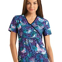 Buy Flexibles Womens Midnight Flight Print Mock Wrap Top for $20.45