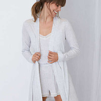 Aerie Softest Sleep Robe + Lace, Light Heather