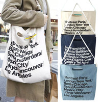 Casual Alphabet Canvas Denim Bags One Shoulder Shoulder Bag [11688091599]