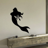 WALL DECAL VINYL STICKER FANTASY GIRL MERMAID BATHROOM DECOR SB659