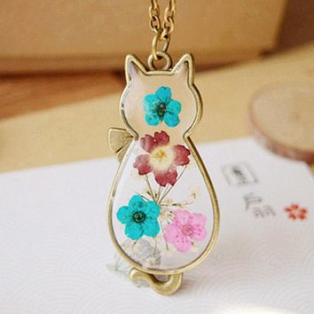 Gold Tone Glass Cat Dry Dried Real Flower Pendant  Necklace