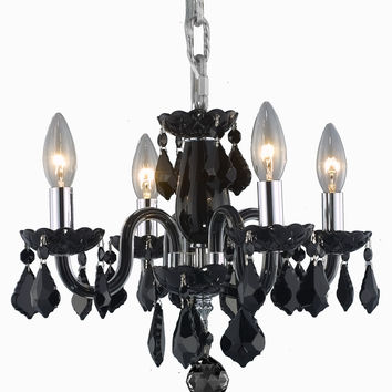 Elegant Lighting - 7804 Rococo Collection Hanging Fixture D15in H12in Lt:4 Black Finish (Royal Cut Jet Black)