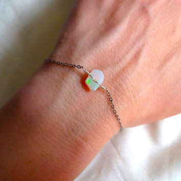 Rough Opal Bracelet and 14k Gold Fill; 925 Sterling Silver; Oxidized Sterling Silver Chain Charm - Gift Idea, For Her October Birth Stone