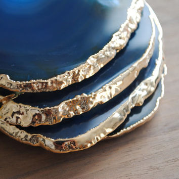 Gold Rimmed Agate Coasters - Set of Four, Blue Agate Coasters, Teal Agate Coasters