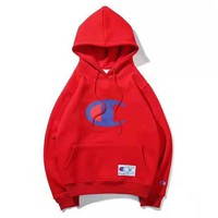Champion Autumn And Winter New Fashion Bust Big Logo Print Thick Keep Warm Hooded Long Sleeve Sweater Top Red