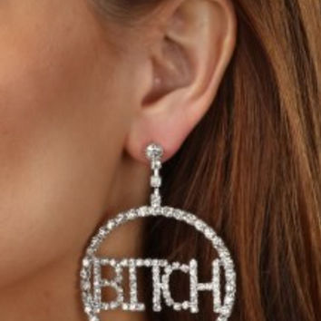BITCH rhinestone Earrings