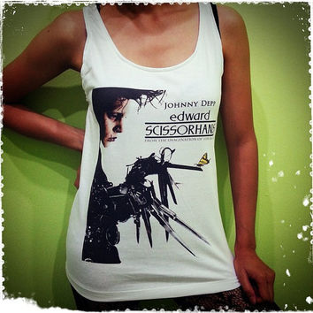 Edward Scissorhands - 1990 Film Poster Johnny Depp US Movies Hollywood Woman Tank Top Crop Vest Tshirt T Shirt Tees S, M, L