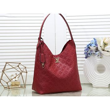 LV Fashion Lady Printed Shopping Bag Single Shoulder Bag Red