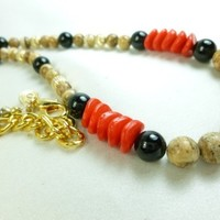Jasper Picture Beaded Gold Filled Black Onyx Red Necklace