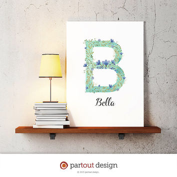 letter B baby nursery art watercolor monogram logo personalized gift name initial art print printable letter nursery decor initial name art