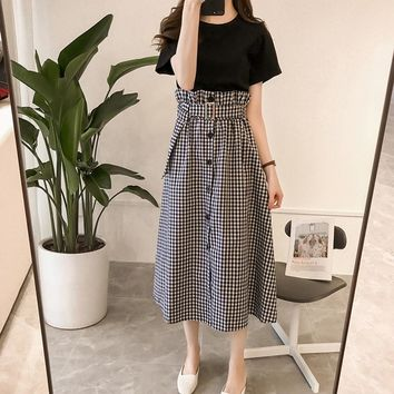 2018 Holiday Wind Bohe Skirts Suit Women Summer Sexy tshits Vest Top + High Waist Split Fork Plaid Skirt Two-piece Sets