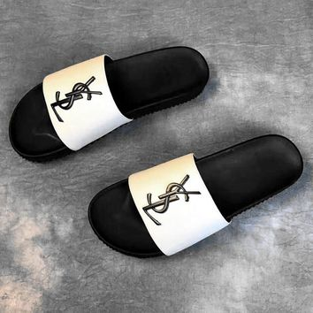 YSL Saint Laurent Fashion Casual Comfortable Sandals Shoes Men Slippers Black White G