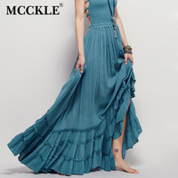 MCCKLE Woman Dress 2017 Beach Dress Sexy Boho Clothing Bohemian Holiday Summer Long Backless Cotton Women Party Hippie Dresses