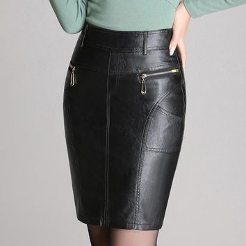Autumn Winter Zipper Women's Leather Skirts Slim High Waist Sexy PU Pencil Skirt Plus Size Black Women Office OL Skirt M-4XL