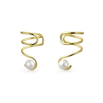 Spiral Freshwater Cultured Cartilage Earrings 14K Gold Plated