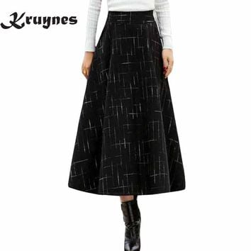 Winter A Line Plaid Skirt Faldas Mujer Women High Elastic Waist Casual Thick Long Maxi Wool Skirt Saias Jupe Skirts