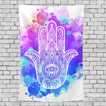 Hamsa Hand Tapestrty Wall Hanging Blue Purple Watercolor Wall Decor Art Birthday Gift for Her Him