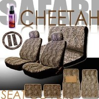 New 16 Pieces Safari Cheetah Print Low Back Front Car Seat Covers, Rear Bench Cover, Seat Belt Covers, Steering Wheel Cover, 4 Pieces Carpet Floor Mats and a 2 oz Purple Slice Car Wash Free Detailer/Multipurpose Cleaner : Amazon.com : Automotive
