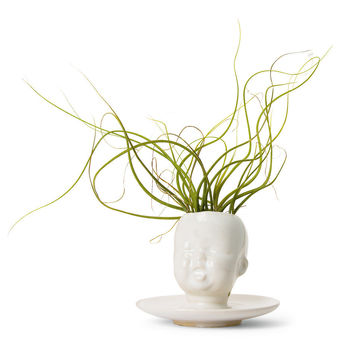 Supermarket - Modern Ceramic White Baby Head Vase / Planter by Mudpuppy from mudpuppy