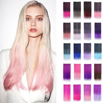 """24"""" Ombre Thick 3/4 Full Head Clip In On Hair Extension Synthetic One Hair Piece"""