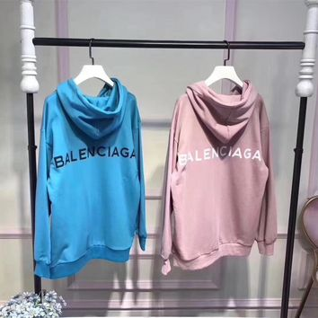 """Balenciaga"" Simple Casual Letter Print Long Sleeve Hooded Sweater Women Hoodie Sweatshirt Tops"
