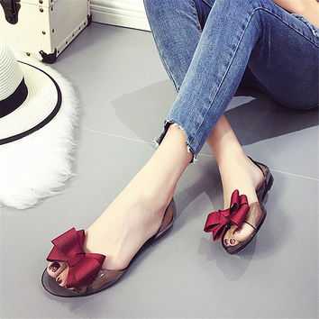 2017 Summer Crystal Jelly Shoes Female Sweet Open Toe Flat Heel Casual Beach Sandals Flats Women Shoes With Bow