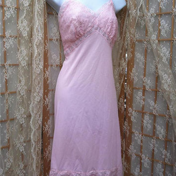 Pretty Pink Vintage Lacey Full Slip Sears Charmode Nylon Wide Rose Lace Hem 38