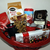 Christmas Gift Basket with Peet's Coffee and Chocolate and Coffee Mugs/Biscotti/Lindt Swiss Chocolate/Candy Canes/Coffee Nips/Coffee Mate