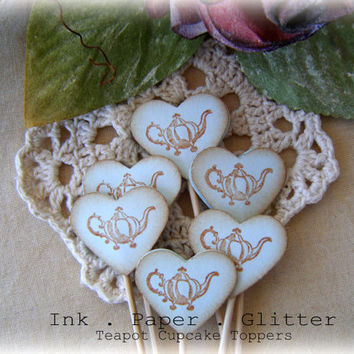 Heart Cupcake Topper - Teapot - Vintage Inspired - Wedding - Bridal Shower - Decoration - Food Pick - Set of 15