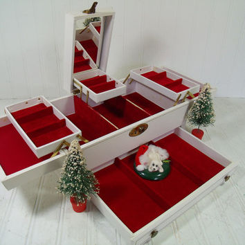 Vintage Huge White Leatherette with Christmas Red Velveteen Interior Jewelry Chest and Mirror with Oversized 5 Tiered Fold Out Display Case
