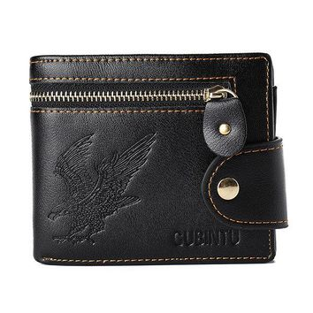 Vintage Driver License Coin Pocket Trifold Wallet For Men