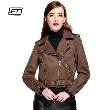 Women Faux Suede Jacket Slim Punk Leather Jacket Woman Bikers Pink Leather Jacket  Moto Jacket Autumn Outwear