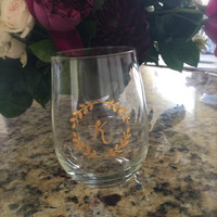 Custom Initial Hand Painted Gold Wreath Stemless Wine Glass