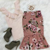 Floral Support Print Skirt: Rose
