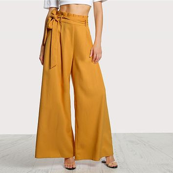High Waist Belted Palazzo Pants