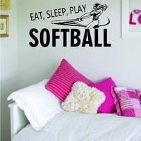Eat Sleep Play Softball Version 2 Sticker Decal Wall Vinyl Art Sports