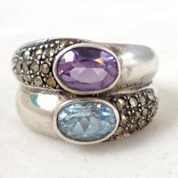 Estate Sterling Silver Amethyst Topaz Marcasites Ring Sz 6