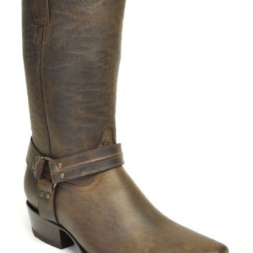 Gavel Handcrafted Men's Western Square Toe Harness Brown Leather Biker Boots