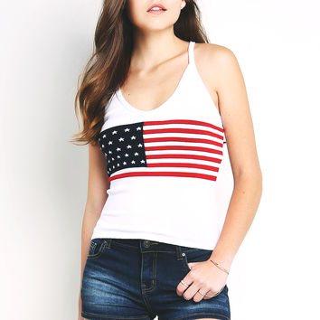 American Flag Knit Cami Top