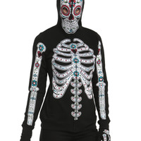 Glow-In-The-Dark Sugar Skull Girls Full Zip Hoodie