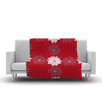 """julia grifol """"Christmas Time"""" Red White Pattern Floral Vector Digital Fleece Throw Blanket"""