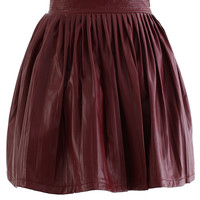 Faux Leather Pleated Skirt in Wine Red