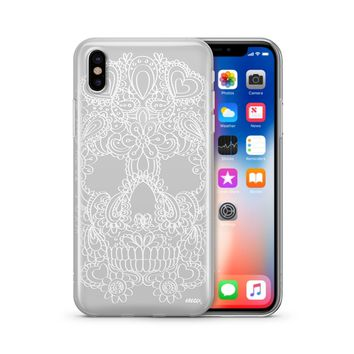 Henna Floral Skull - Clear TPU Case Cover