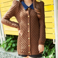 Brown Knitted Cardigan Jacket