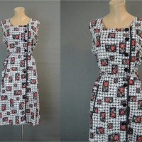 1950s XL Cotton Floral Dress, 42 inch bust, Black & Red Flowers, Top Mode Button Front