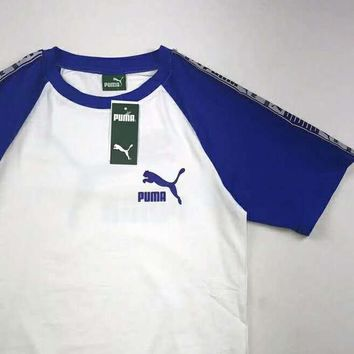 PUMA Fashion new women and men bust and back letter print short sleeves t-shirt top Blue white