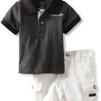 Calvin Klein Baby-Boys Newborn Polo With Cargo Short, Gray, 3-6 Months