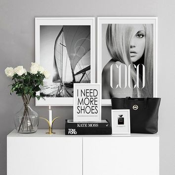 Modern Black and White Canvas Painting COCO Nordic Home Decor Wall Pictures For Living Room Posters and Prints Fashion Wall Art